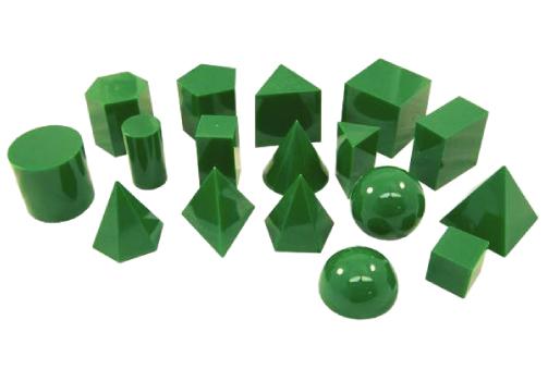 3D GEO SOLID 17 SHAPES GREEN SET