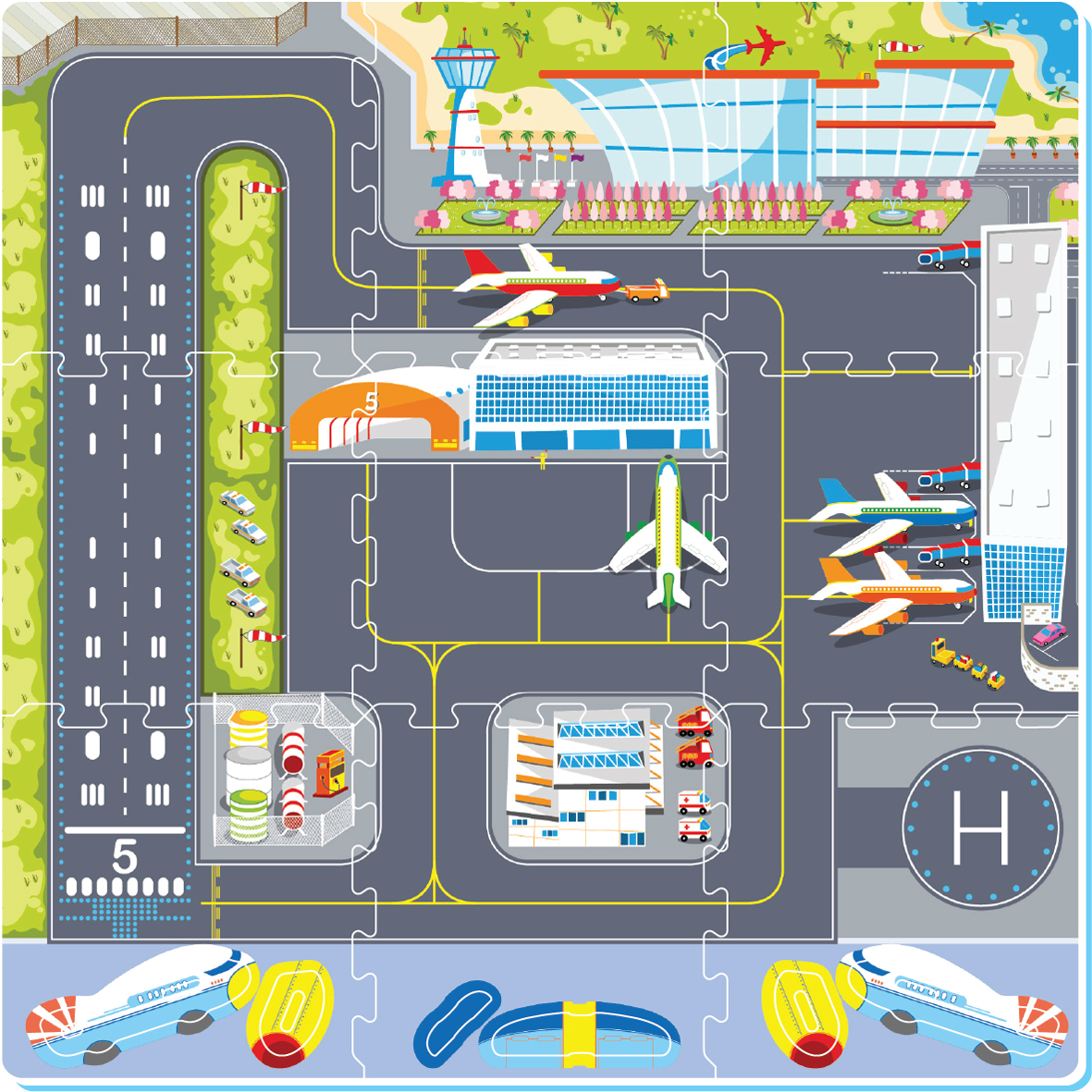 AIRPORT WITH DIY AEROPLANE PUZZLE MAT - 9PCS