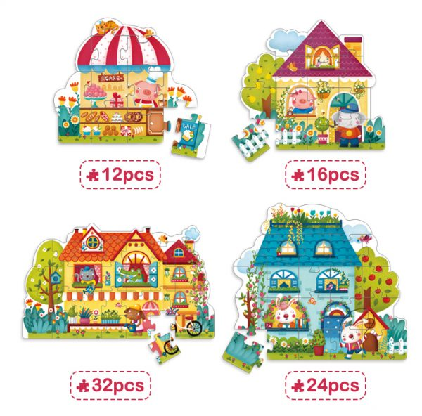 4 BOXES SET PUZZLE (BUILDING TYPE)