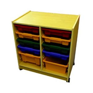 Wood Cabinet with 10 Containers